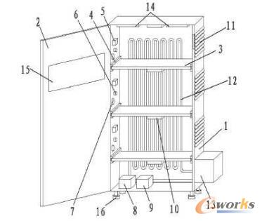 电气自动化控制的散热式电气柜的结构示意图