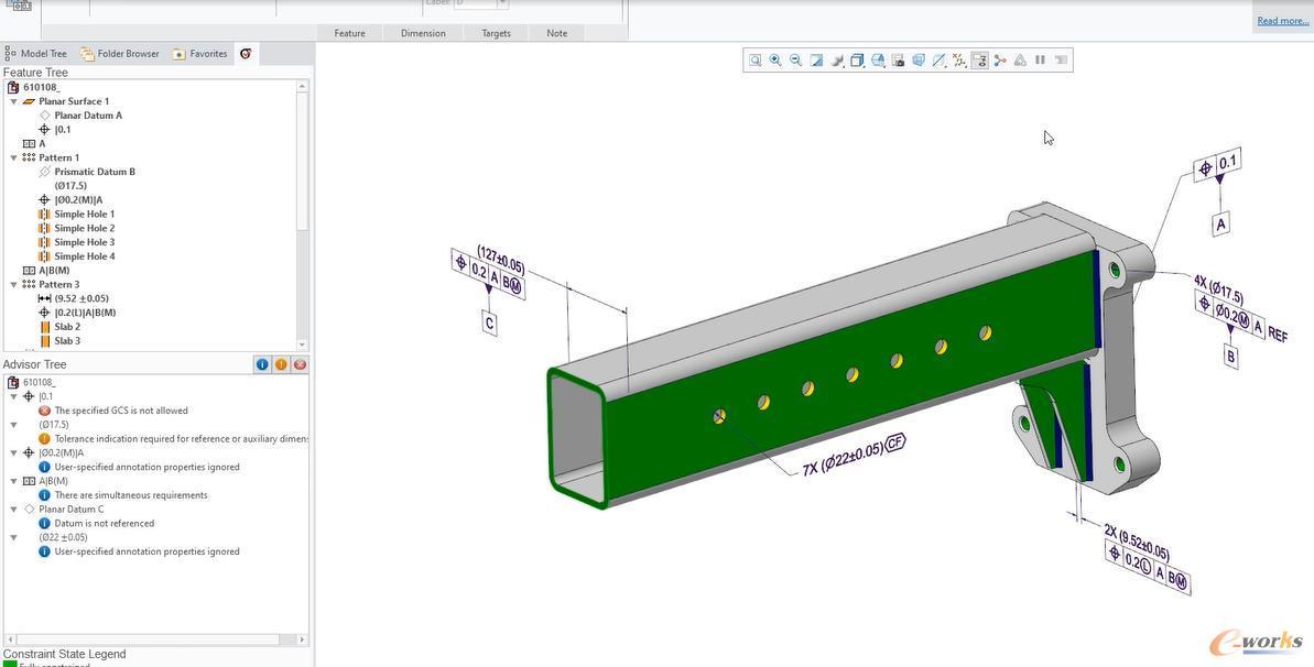 在Creo 8.0中利用基于模型的定义(MBD)创建的CAD模型