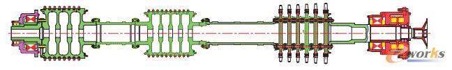 氦气轮机转子支承结构