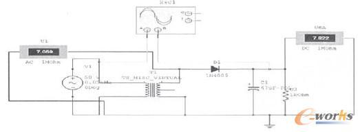 半波整流电容滤波仿真电路
