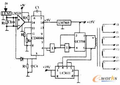 1 频率跟踪控制电路  cd4046集成锁相环可实现无
