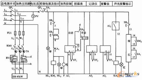 2.4 固态继电器构成的温控系统   根据过零型交流固态继电器的特性,选用Et本横河UT350系列或大华一千野KP1000系列温控表,选择SSR驱动输出型。此类温控表可存贮19种程序段,每种程序段有19种步进通过LCD显示,正在执行的步进及其前后各一步用自整定功能片可自由设定PID常数对应多种对象,程序运行可有主从方式。   报警表采用XMT系列,记录仪采用川仪ER186系列仪表。主回路加电压及电流监控,控制回路加报警输出。由于固态继电器是发热元件,长时间工作,若没有好的散热容易烧毁,本系统在安装固态继