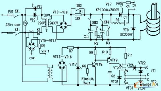 2 系统控制电路     图4为系统控制电路,选三菱fx1n-24mr为系统主控器