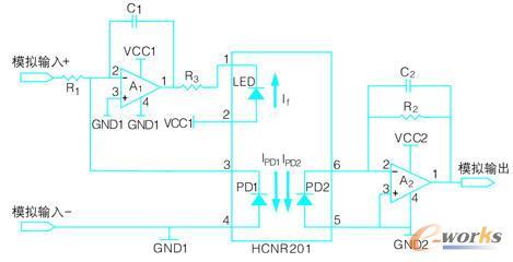 图2 线性光耦hcnr201模拟电压隔离电路