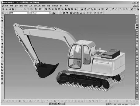 利用已完成的挖掘机三维模型,给出液压缸运动的约束条件,并施加作用力图片