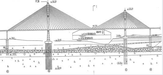 长江荆州斜拉桥静力三维仿真(I)-结构设计带怎么地下室房子楼梯分析图纸图片