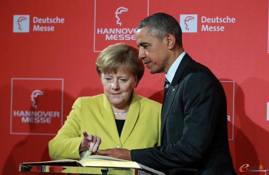 奥巴马和默克尔莅临汉诺威2016工业展
